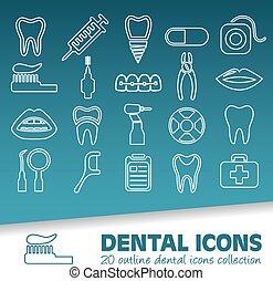 dental, contorno, iconos