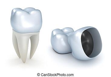 dental, coronas, y, diente, aislado
