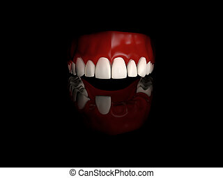 Dental crown installation with reflection , Medically accurate 3d illustration