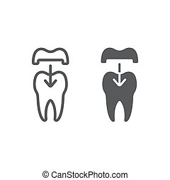Dental crown line and glyph icon, stomatology and dental, ceramic tooth sign vector graphics, a linear pattern on a white background, eps 10.