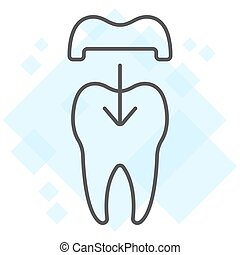 Dental crown thin line icon, stomatology and dental, ceramic tooth sign vector graphics, a linear pattern on a white background, eps 10.