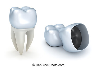 Dental crowns and tooth, isolated