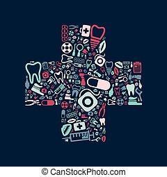 dental, cruz, iconos