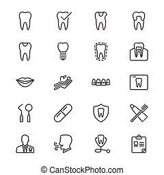 dental, delgado, iconos