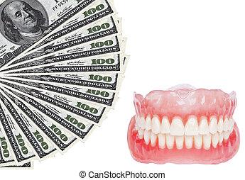 dental, dentadura, dólares, -, gastos, imagen conceptual