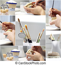 dental dentist objects collage