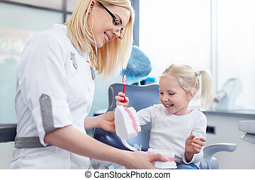 Dentist with a child in clinic