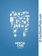 dental, desenho, cuidado, conceito