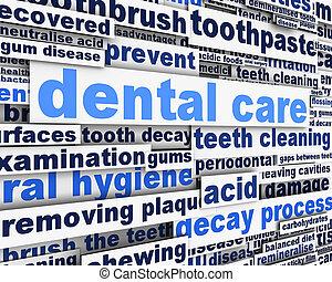 dental, desenho, mensagem, cuidado