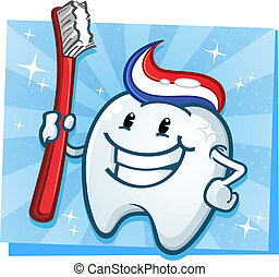 dental, diente, caricatura, carácter