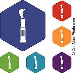 Dental drill icons set
