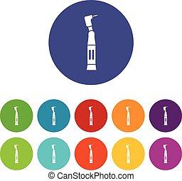 Dental drill set icons
