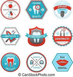 dental, emblema, jogo