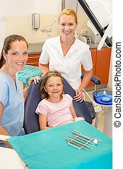 dental, equipe, em, stomatology, clínica, criança