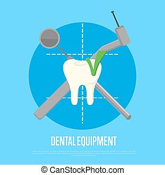 Dental equipment banner with instruments crosswise