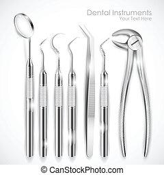 Dental Equipment - illustration of set of realistic dental ...