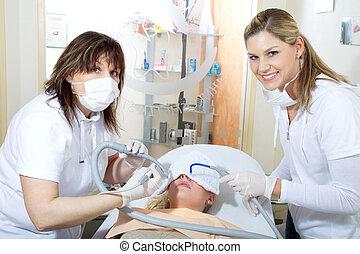 dental, equipo, en el trabajo
