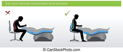 dental, ergonomics., mal, y, correcto, sentado, postura