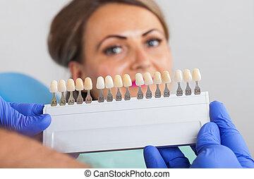 dental, ermittlung, schatten