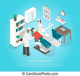 dental, exames, procedimento, tratamento, isometric, cartaz