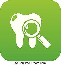 Dental examination icon green vector
