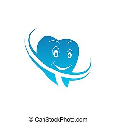 Dental family clinic vector logo template. Isolated icon of cartoon dentist tooth smile