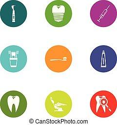 Dental fix icons set, flat style