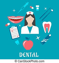 Dental flat concept with dentistry icons