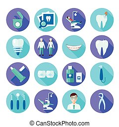 Dental Flat Icon Set - Dental tools doctor tooth care and...