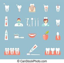 Dental Flat Icons Set.