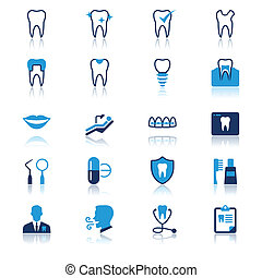 Dental flat with reflection icons. Simple vector icons. Clear and sharp. Easy to resize.