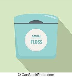 Dental floss box icon, flat style