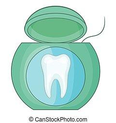 Dental floss icon, cartoon style