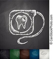 dental floss icon. Hand drawn vector illustration....