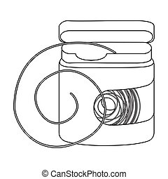 Dental floss icon in outline style isolated on white background. Dental care symbol stock vector illustration.