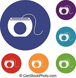 Dental floss icons set