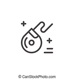Dental floss line icon isolated on white. Vector...