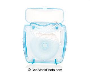 Dental floss - Pack of dental floss. All on white...