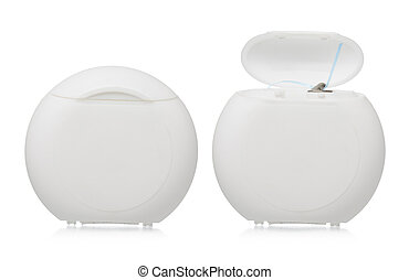 Dental floss plastic case closed and open isolated