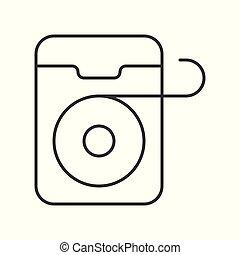 Dental floss simple outline icon, vector illustration