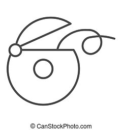 Dental floss thin line icon. Dental care vector illustration isolated on white. Tooth care outline style design, designed for web and app. Eps 10