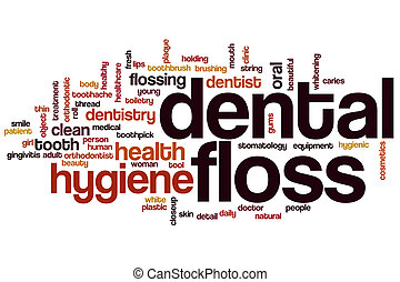 Dental floss word cloud concept with hygiene care related...