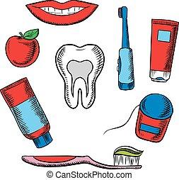 dental, gegenstände, hygiene, hintergrund, weißes