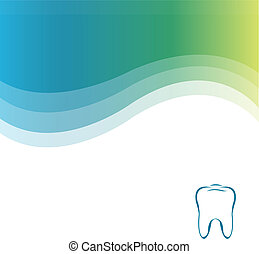 Dental Green Background With Tooth, Vector Illustration