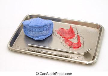 Dental gypsum models and dental brace (Retainer) in medical...
