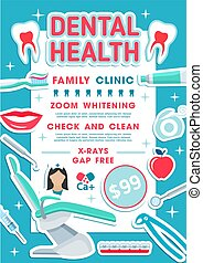 Dental health clinic banner dentistry design