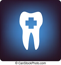 Dental health - Tooth icon with healthcare cross inside