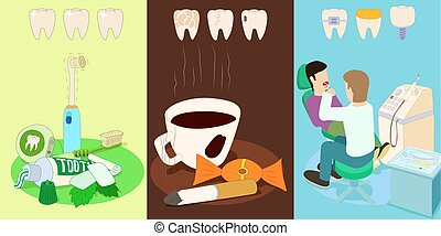 Dental horizontal banners set, cartoon style