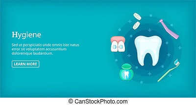 Dental hygiene banner horizontal, cartoon style