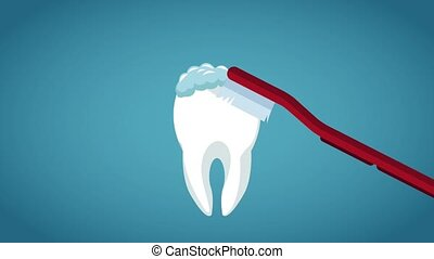 Dental hygiene concept HD animation - Brush cleaning tooth...